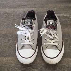 Grey and burgundy converse